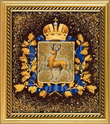 Картина из янтаря «Герб Нижнего ...: baltamber.ru/product/kartina-iz-jantarja-gerb-nizhnego-novgoroda